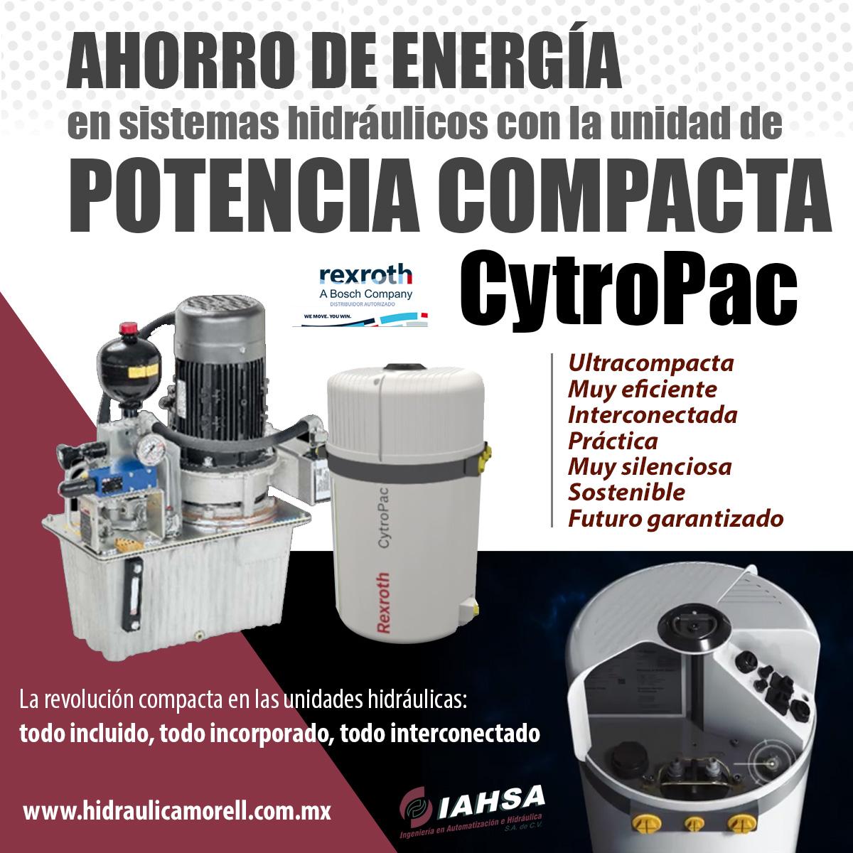 Ahorro de energía en sistemas hidráulicos con la unidad de potencia compacta Cytropac